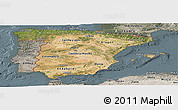 Satellite Panoramic Map of Spain, semi-desaturated