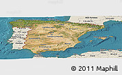 Satellite Panoramic Map of Spain, shaded relief outside, satellite sea