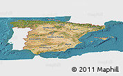 Satellite Panoramic Map of Spain, single color outside
