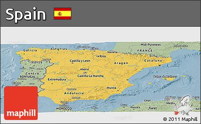 Savanna Style Panoramic Map of Spain