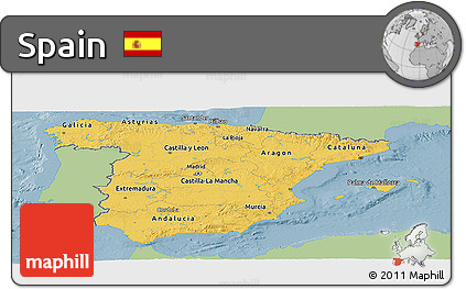 Savanna Style Panoramic Map of Spain, single color outside
