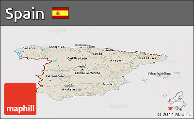 Shaded Relief Panoramic Map of Spain, cropped outside