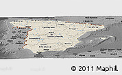 Shaded Relief Panoramic Map of Spain, darken, desaturated