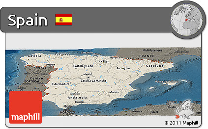 Shaded Relief Panoramic Map of Spain, darken