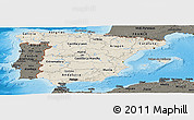 Shaded Relief Panoramic Map of Spain, darken, land only