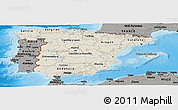 Shaded Relief Panoramic Map of Spain, darken, semi-desaturated, land only