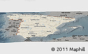 Shaded Relief Panoramic Map of Spain, darken, semi-desaturated