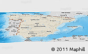 Shaded Relief Panoramic Map of Spain, desaturated, land only