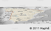 Shaded Relief Panoramic Map of Spain, desaturated