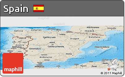 Shaded Relief Panoramic Map of Spain