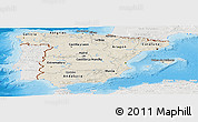Shaded Relief Panoramic Map of Spain, lighten, semi-desaturated, land only