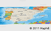 Shaded Relief Panoramic Map of Spain, political outside