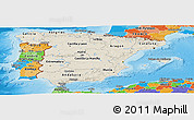 Shaded Relief Panoramic Map of Spain, political outside, shaded relief sea