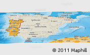Shaded Relief Panoramic Map of Spain, political shades outside, shaded relief sea