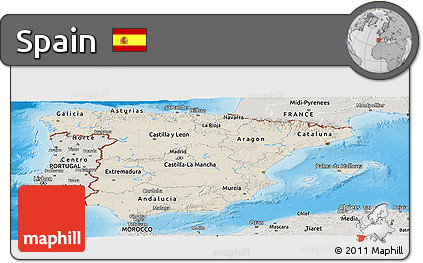 Shaded Relief Panoramic Map of Spain, semi-desaturated, land only