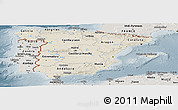 Shaded Relief Panoramic Map of Spain, semi-desaturated