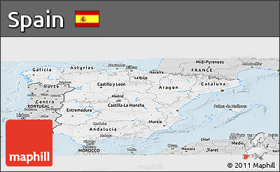 Silver Style Panoramic Map of Spain