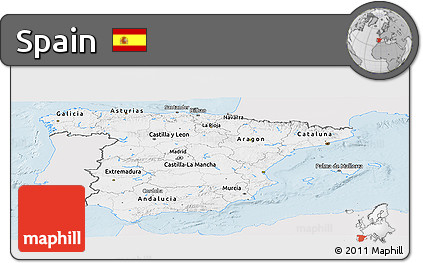 Silver Style Panoramic Map of Spain, single color outside