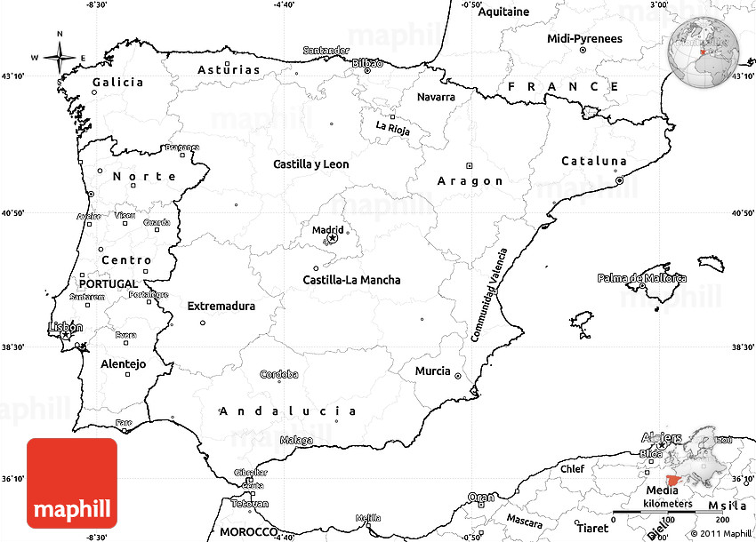 Printable Map Of Spain.Blank Simple Map Of Spain