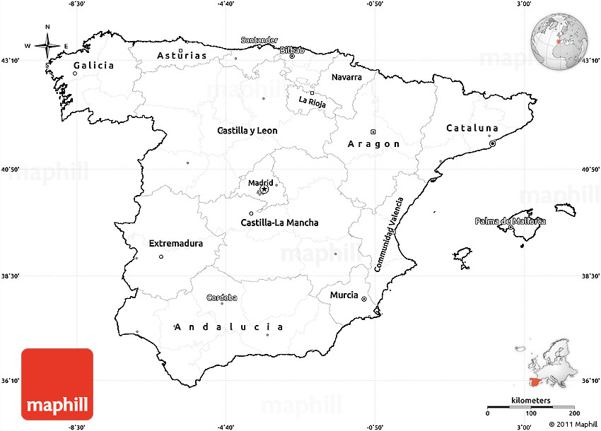 Map Of Spain Blank.Blank Simple Map Of Spain Cropped Outside