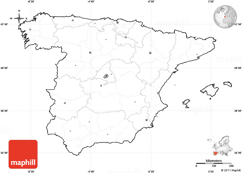 Map Of Spain Blank.Blank Simple Map Of Spain Cropped Outside No Labels