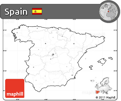 Printable Map Of Spain.Free Blank Simple Map Of Spain Cropped Outside No Labels