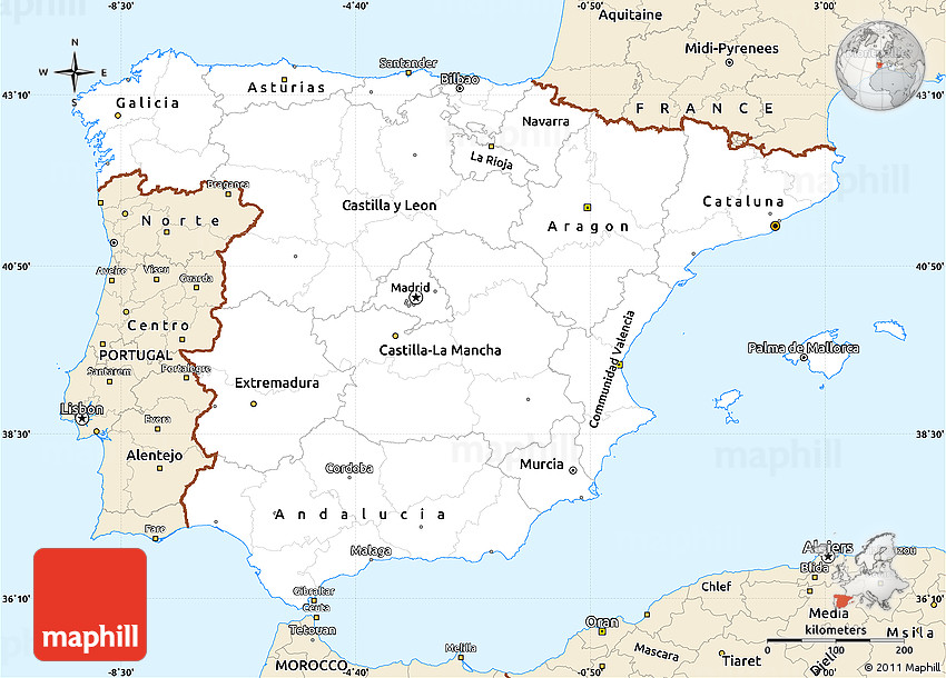 Detailed Map Of Spain In English.Classic Style Simple Map Of Spain