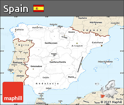 Classic Style Simple Map of Spain