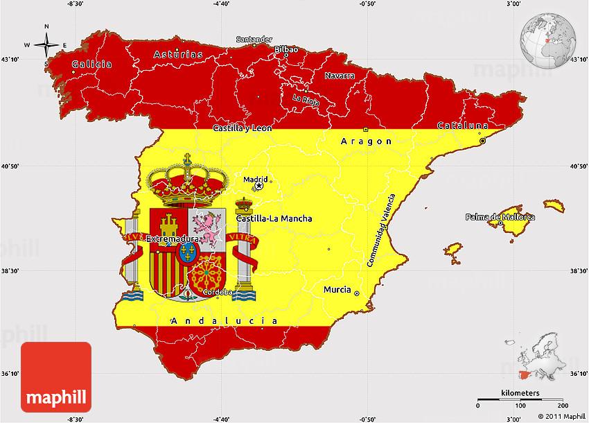 Flag Simple Map of Spain