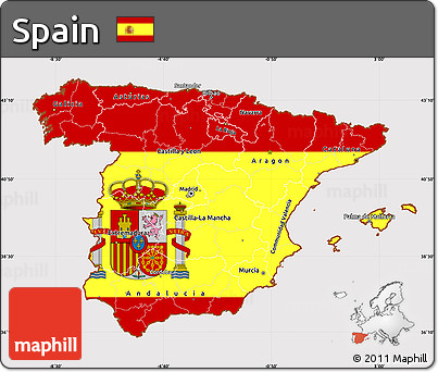 Flag Simple Map of Spain
