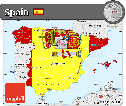 Map Of Spain To Color.Free Flag Simple Map Of Spain Single Color Outside Borders And