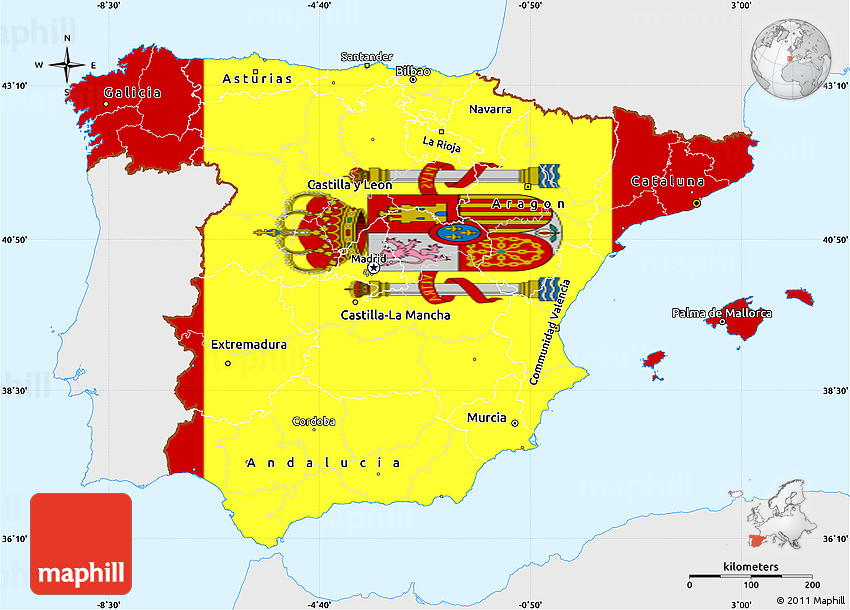 Spain Map Flag.Flag Simple Map Of Spain Single Color Outside Flag Rotated