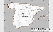 Gray Simple Map of Spain, cropped outside