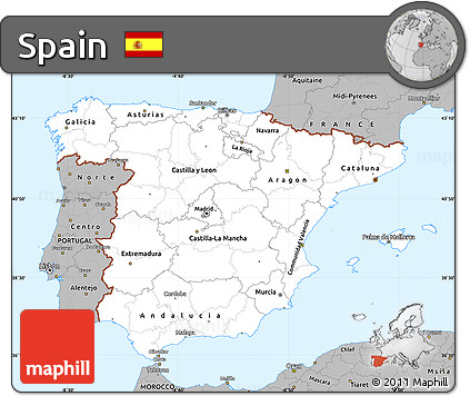 Gray Simple Map of Spain
