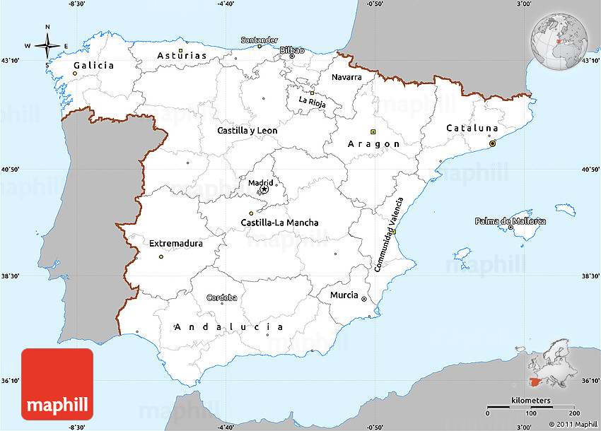 Map Of Spain To Color.Gray Simple Map Of Spain Single Color Outside