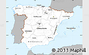 Gray Simple Map of Spain, single color outside