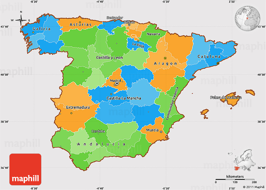 Map Of South West Spain.Political Simple Map Of Spain Cropped Outside