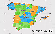 Political Simple Map of Spain, cropped outside