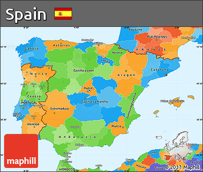 Free Political Simple Map Of Spain - Spain political map