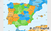 Political Simple Map of Spain, political shades outside