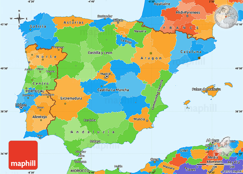 World Map Of Spain.Political Simple Map Of Spain