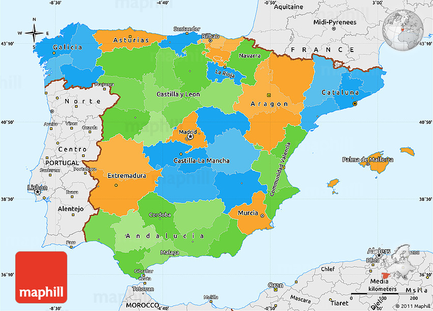 Political Simple Map Of Spain Single Color Outside Borders And Labels