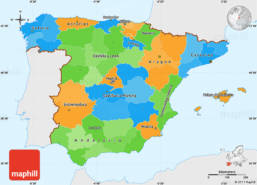 Political Simple Map Of Spain Single Color Outside - Spain political map