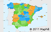Political Simple Map of Spain, single color outside