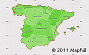 Political Shades Simple Map of Spain, cropped outside