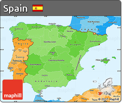 Political Shades Simple Map of Spain