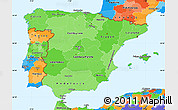 Political Shades Simple Map of Spain, political outside