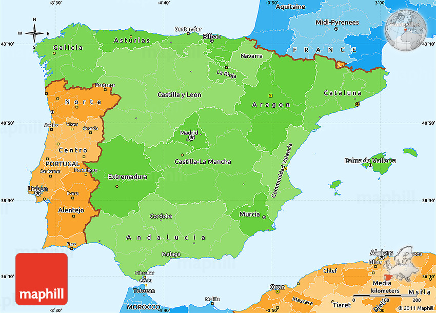 Map Of South West Spain.Political Shades Simple Map Of Spain