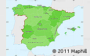 Political Shades Simple Map of Spain, single color outside