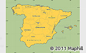 Savanna Style Simple Map of Spain, cropped outside